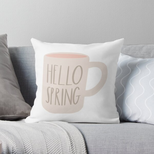 Spring Mug Farmhouse Design | Rae Dunn Inspired  Throw Pillow