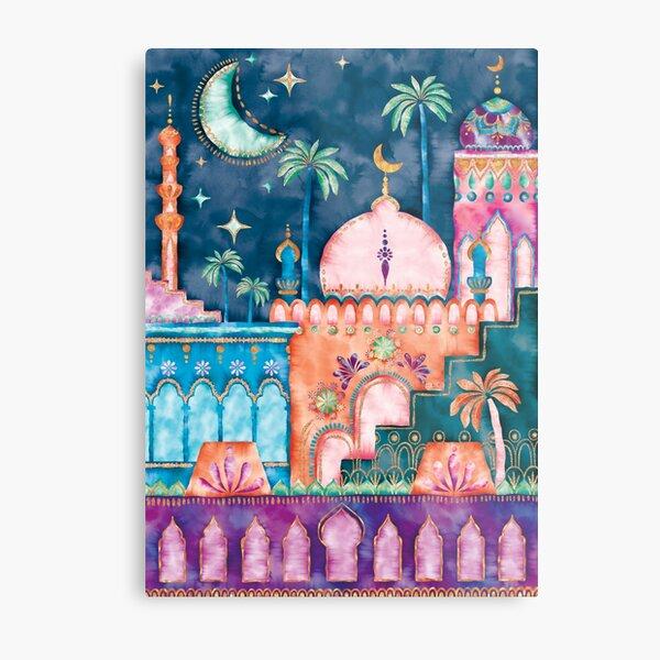 Watercolor moroccan city, morocco landscape, morocco city, morocco travel, morocco architecture, marrakech, marrakesh, oriental Metal Print