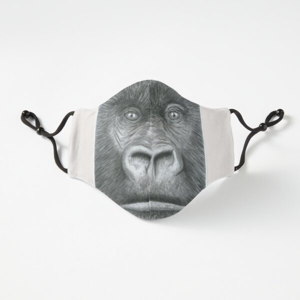 Gorilla Head - Pencil Drawing Animal Art  Fitted 3-Layer