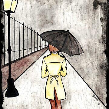 The wanderer in the rain by ilerys
