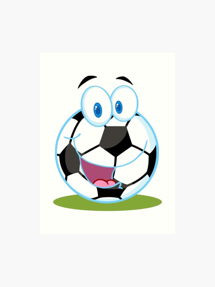 Cartoon Fussball Smiley Ball Kunstdruck