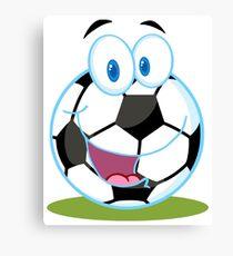 Cartoon soccer smiley ball Canvas Print