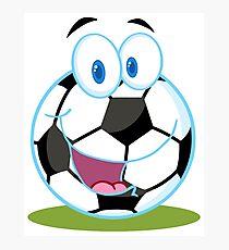 Cartoon soccer smiley ball Photographic Print