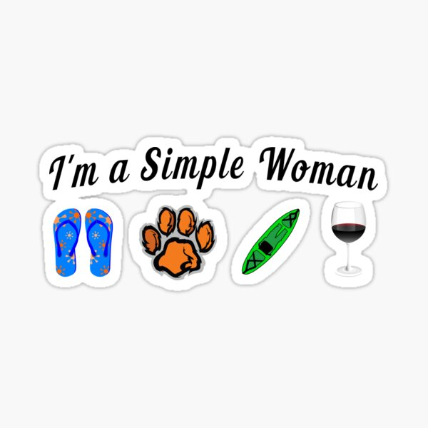 I'm a Simple Woman who loves Kayaking with Dogs Sticker