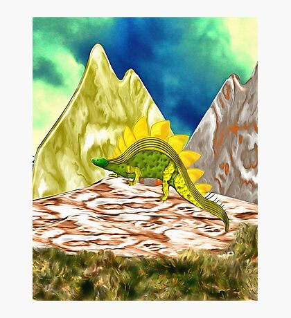A Stegosaurus in the Mountains Photographic Print
