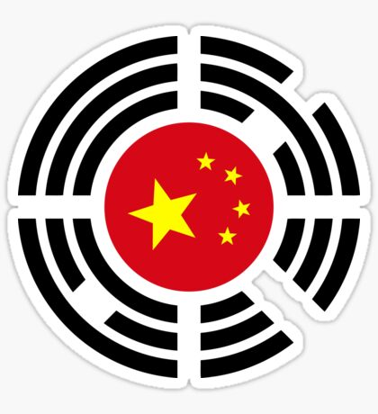 Korean Chinese Multinational Patriot Flag Series Sticker