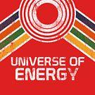 Universum der Energie-Logo in Vintage-Distressed-Stil von retrocot