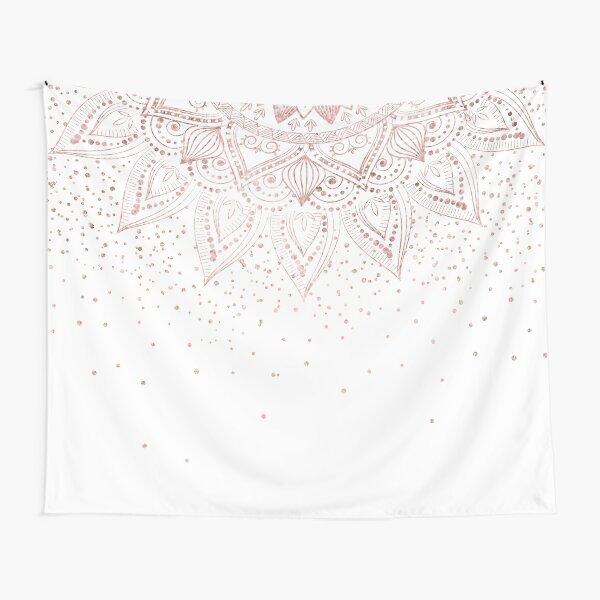 Elegant rose gold mandala confetti design Tapestry