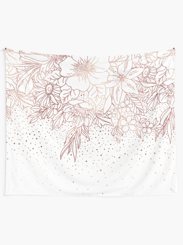 Alternate view of Rose gold hand drawn floral doodles and confetti design  Tapestry