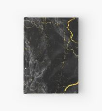Dark Marble Abstract Black and Gold Hardcover Journal