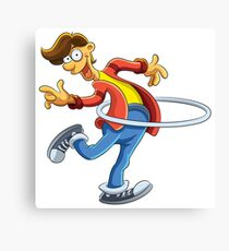 Cartoon boy playing with ring Canvas Print