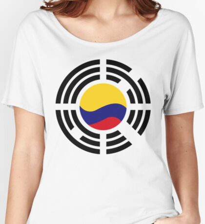 Korean Colombian Multinational Patriot Flag Series Relaxed Fit T-Shirt