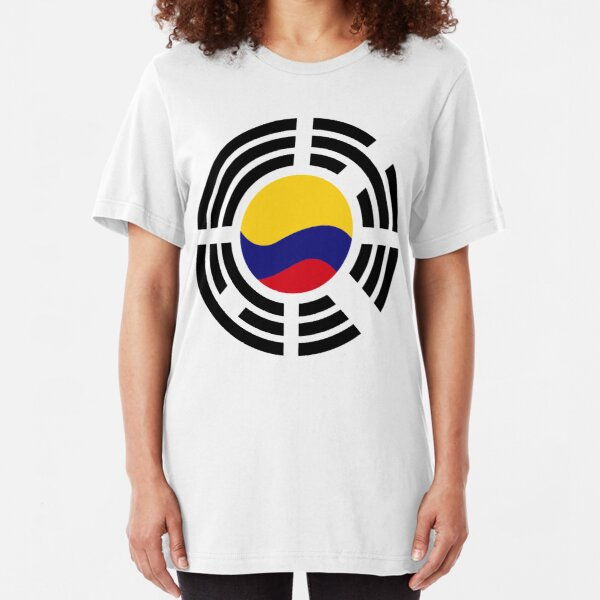 Korean Colombian Multinational Patriot Flag Series Slim Fit T-Shirt