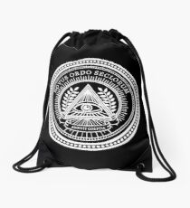 Illuminati New World Order Eye Triangle Black Drawstring Bag