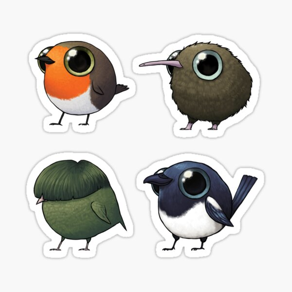 Small Fat Birds Sticker