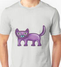 Cartoon purple cat Unisex T-Shirt