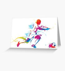 Colorful footballer chasing the ball graphics Greeting Card
