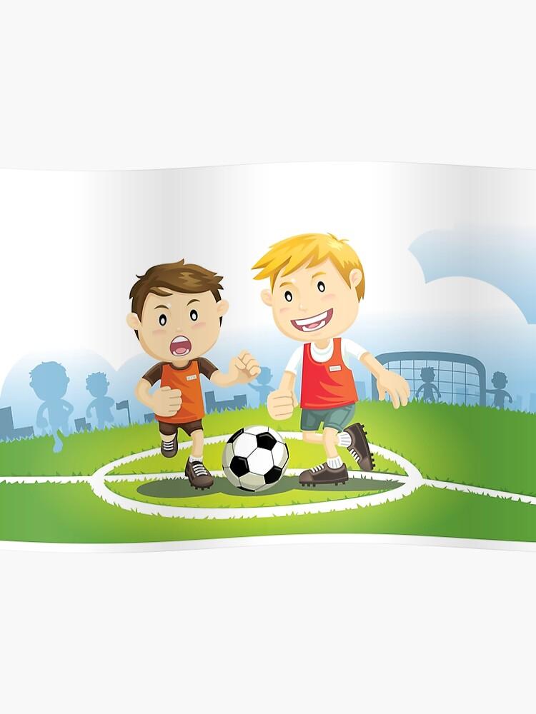 Zwei Jungen Spielen Fussball Auf Einem Feld Poster