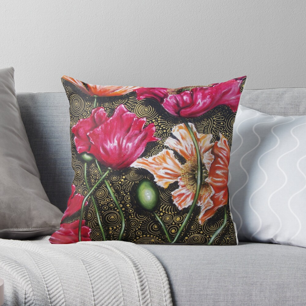 Iceland Poppy Mix Throw Pillow