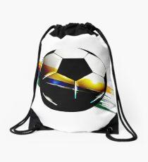 Soccer ball with the Brazilian flag Drawstring Bag