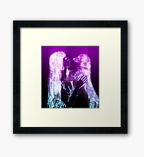 Digitally enhanced image of Human and Dog face to face  Framed Print