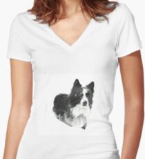 Working Winter Collie Women's Fitted V-Neck T-Shirt