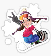 Girl snow boarding Sticker