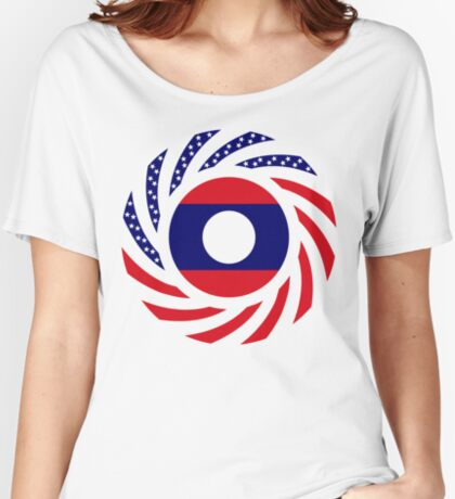 Lao American Multinational Patriot Flag Series Relaxed Fit T-Shirt