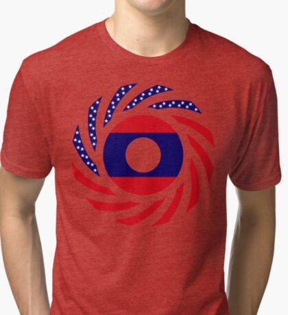 Lao American Multinational Patriot Flag Series Tri-blend T-Shirt