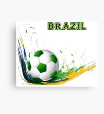 Beautiful brazil colors concept shiny soccer ball Canvas Print