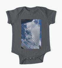 Glossy Glass Reflections - Skyscraper Geometry With Clouds - Right One Piece - Short Sleeve