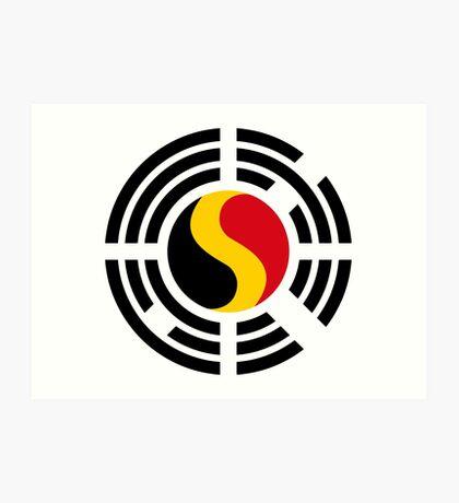 Korean Belgian Multinational Patriot Flag Series Art Print
