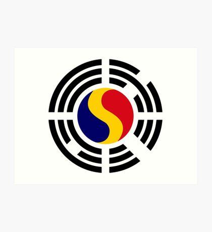 Korean Romanian Multinational Patriot Flag Series Art Print