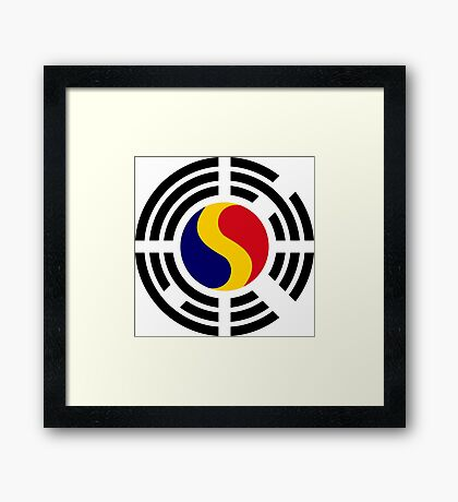 Korean Romanian Multinational Patriot Flag Series Framed Print