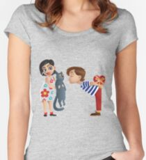 Valentine kiss cat Women's Fitted Scoop T-Shirt