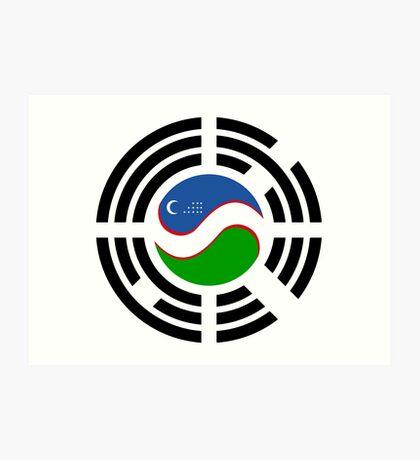 Korean Uzbeki Multinational Patriot Flag Series Art Print