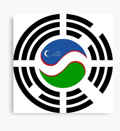 Korean Uzbeki Multinational Patriot Flag Series Canvas Print