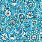 Blue Paisley Floral by Sarah Oelerich