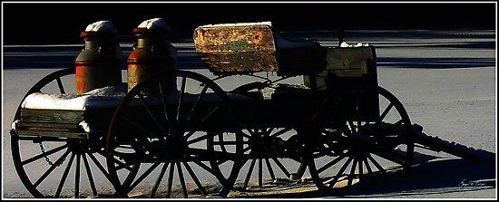 Milk Wagon in Winter Shadows by Wayne King