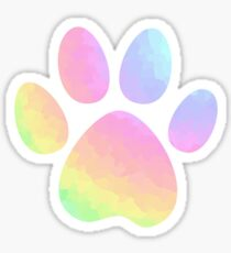 Crystal Rainbow Pastel Dog Paw Sticker