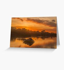 Sunset over Tranquil River and Bank Greeting Card