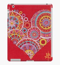 Colourful heart on red iPad Case/Skin