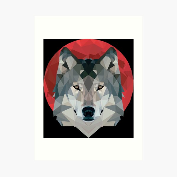 Red Moon+Wolf Art Print