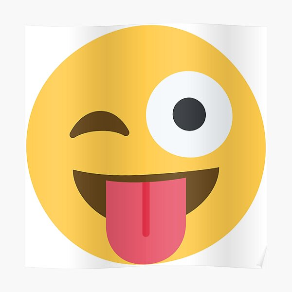 lengua sobresaliendo guiñando un ojo emoji Póster