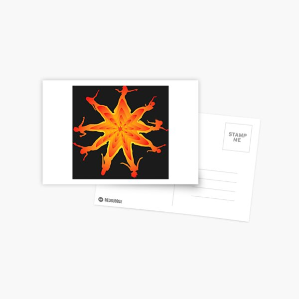 Dancing Girls. Star Corona Silhouette Red Fade Postcard