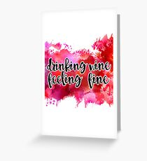 Drinking Wine Watercolor Greeting Card