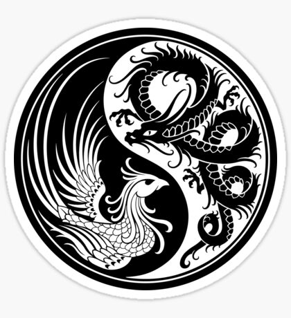 Weißer und schwarzer Drache Phoenix Yin Yang Sticker