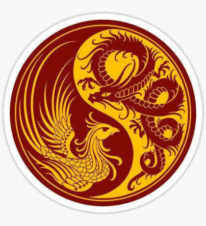 Yellow and Red Dragon Phoenix Yin Yang Sticker