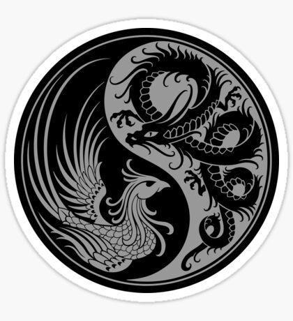 Gray and Black Dragon Phoenix Yin Yang Sticker