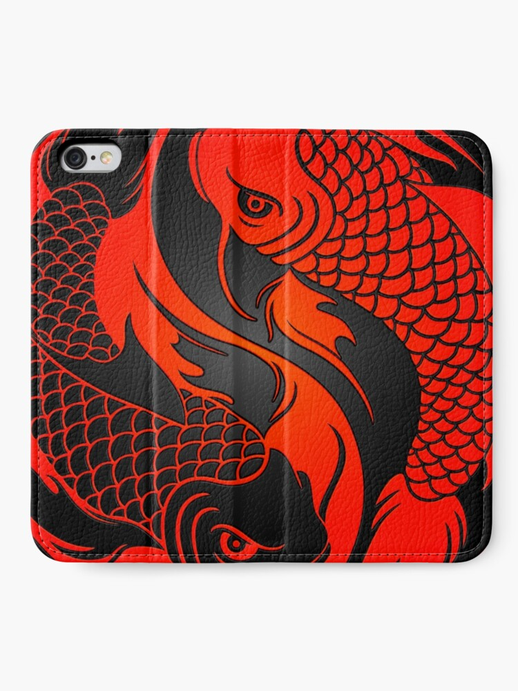 Alternate view of Red and Black Yin Yang Koi Fish iPhone Wallet